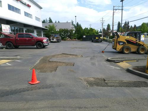 Asphalt parking lot patching